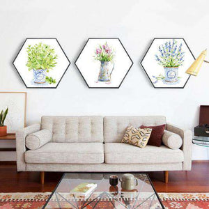 Conservatory  - Set of 3 Hexagonal Framed Prints