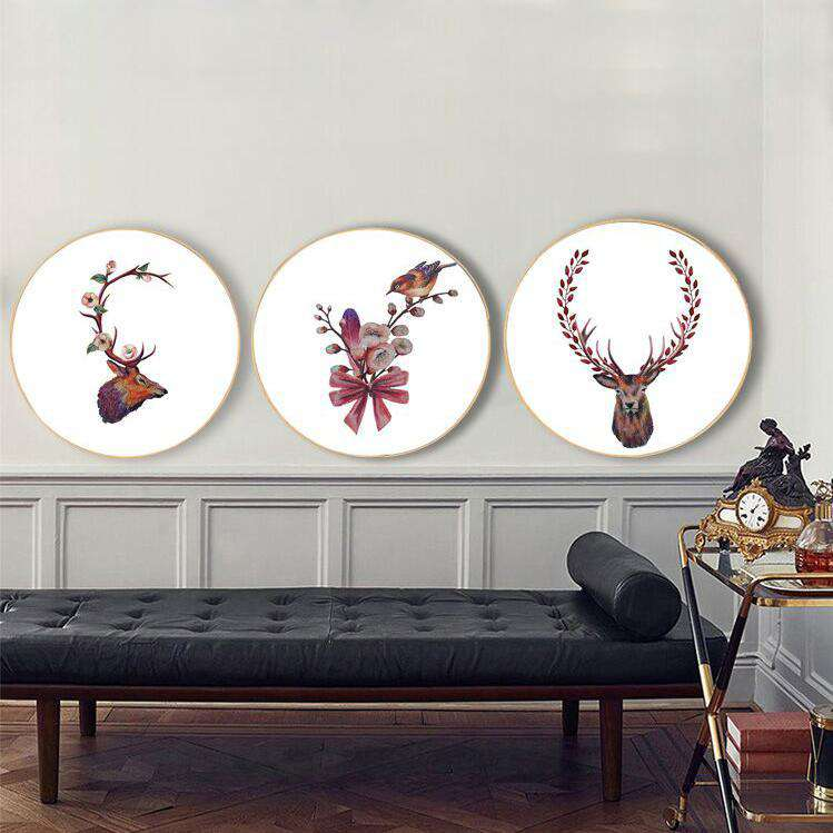 Reindeer Blossom - Set of 3 Round Framed Wall Art