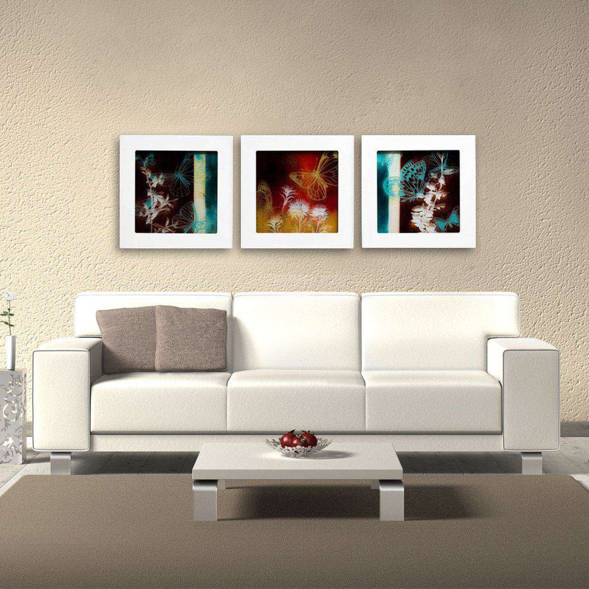 Moonlight Butterfly - Shadowbox Frame Print on Glass - Set of 3