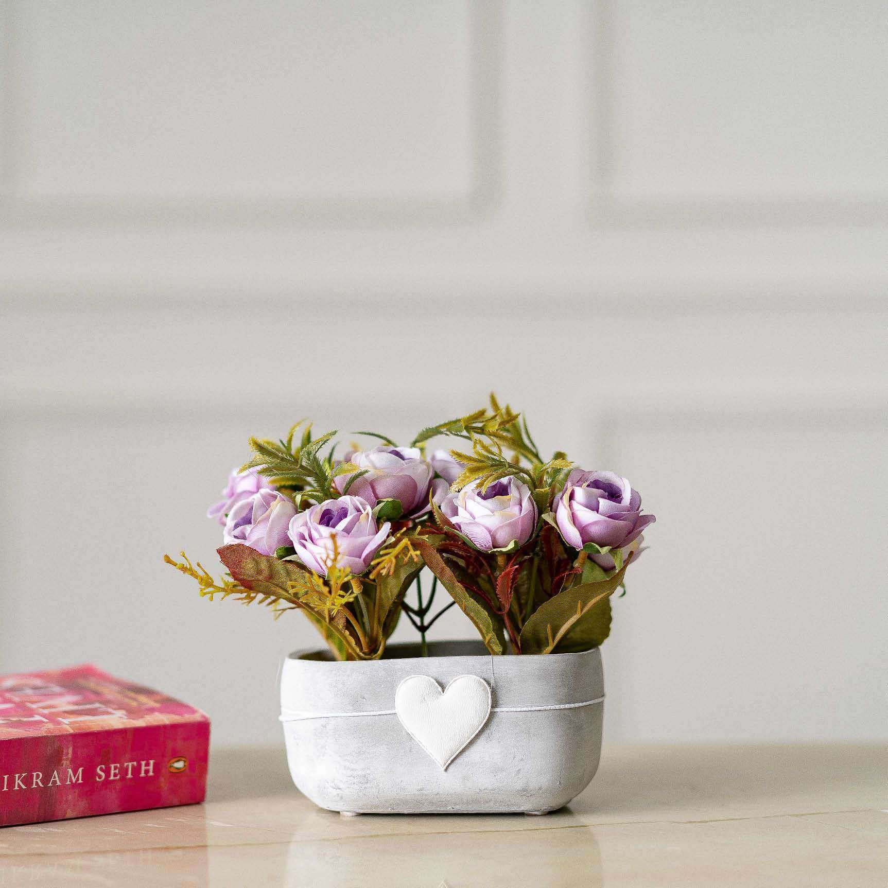 Amor Silk Flower Arrangement In Ceramic Planter Purple Thedecorkart