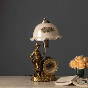 'Dakota' Fenton Lamp w/ Clock & Scalloped Glass Shade