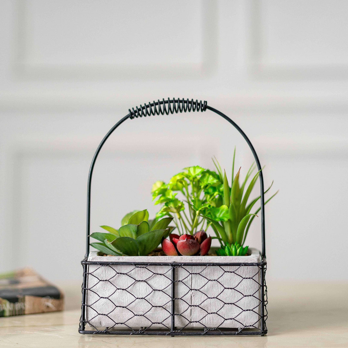 Faux Potted Plants with Iron Caddy