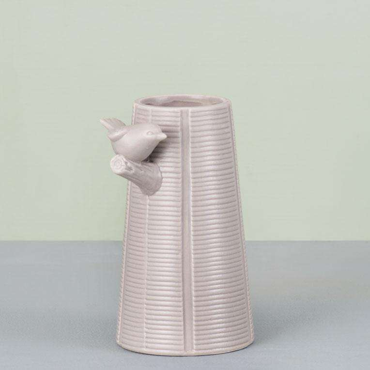 'Iconic' Ceramic Bird Vase - Matte Sand