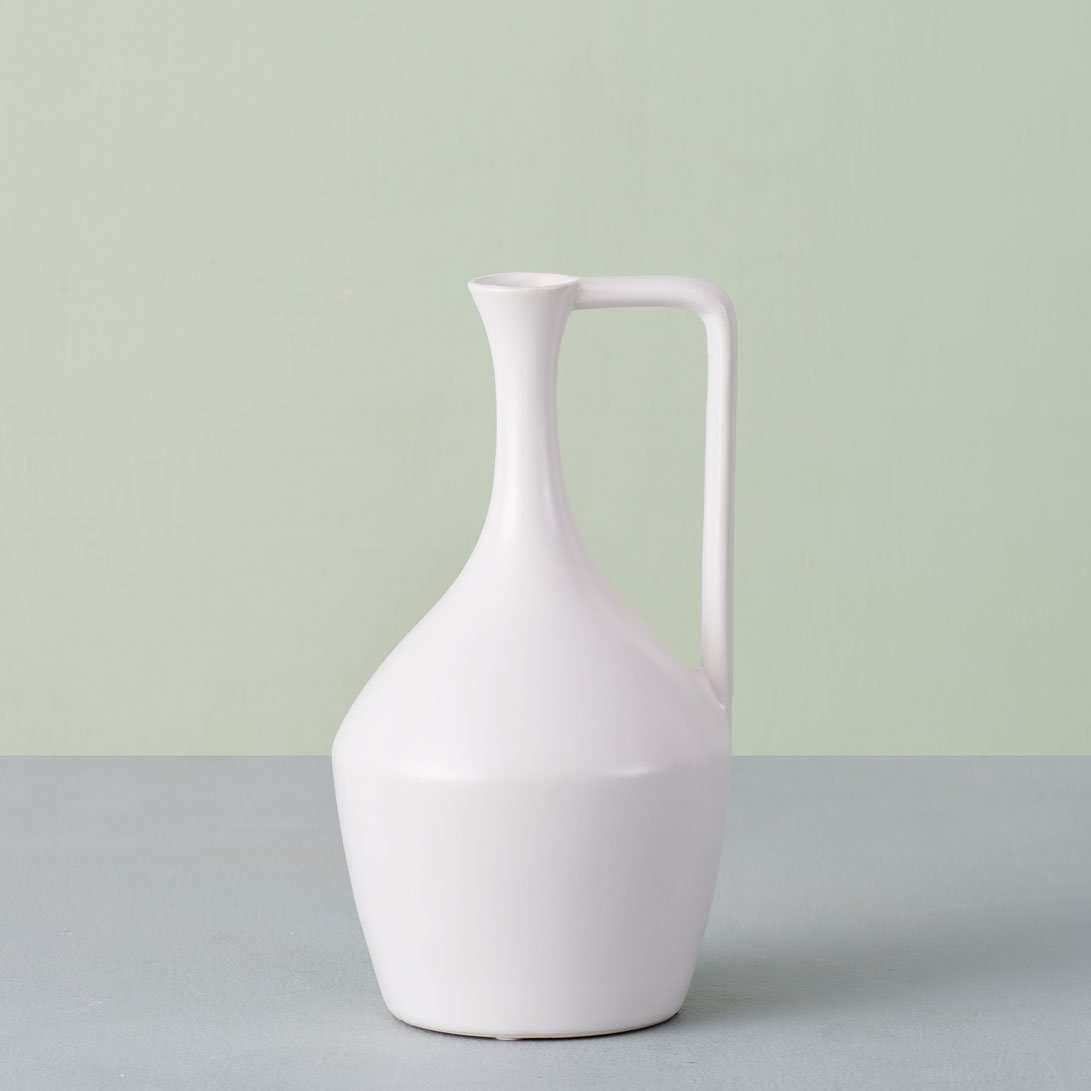 'Artisan' Matte White Pitcher Vase - Large