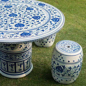 Classic Blue & White Garden Stool Table 5-Piece Set
