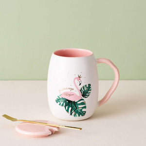 Flamingo Mug with Lid and Spoon - Set of 2