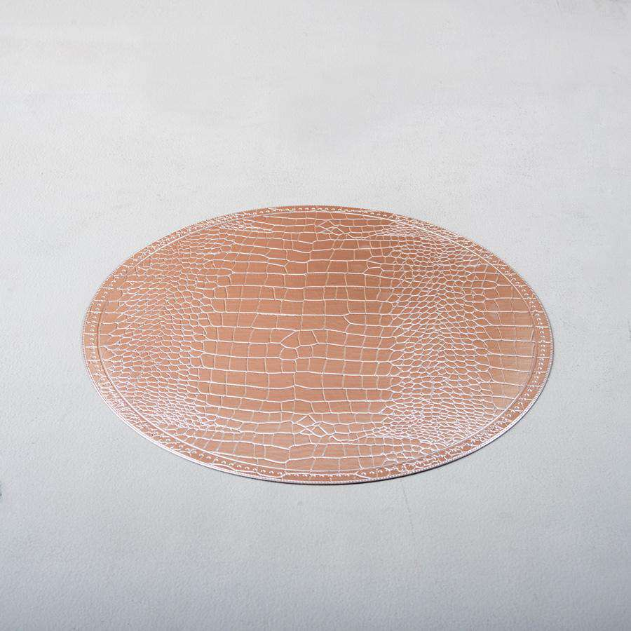 Silver Lustre Faux Leather Round Placemats - Set of 6