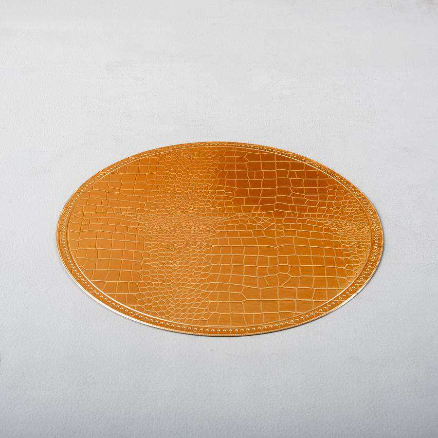 Gold Lustre Faux Leather Round Placemats - Set of 6