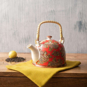 Red Paisley - Ceramic Tea Kettle