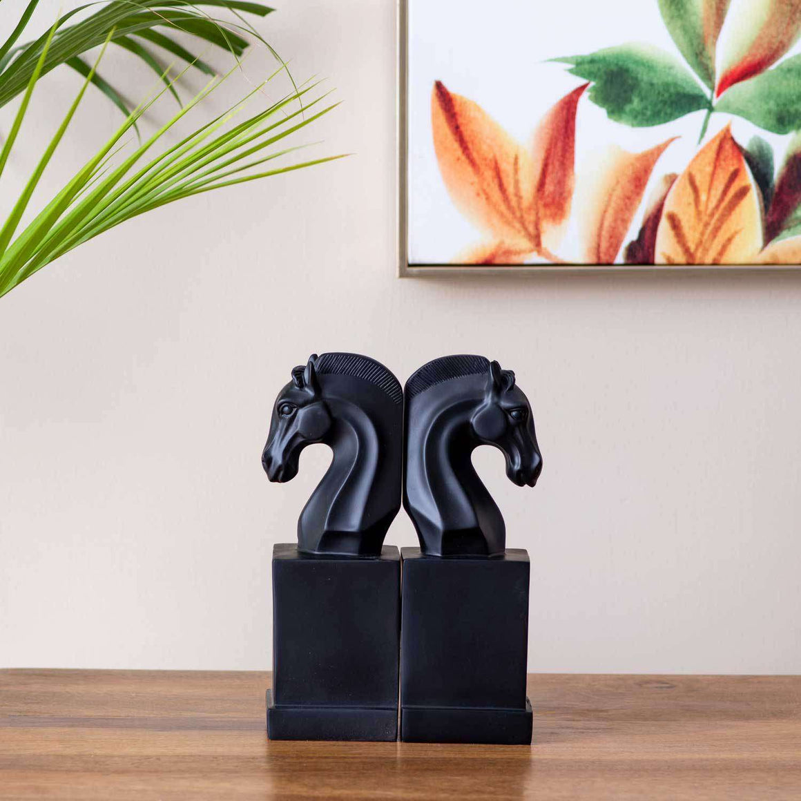 Horse on Pedestal Monochrome Bookend - Black