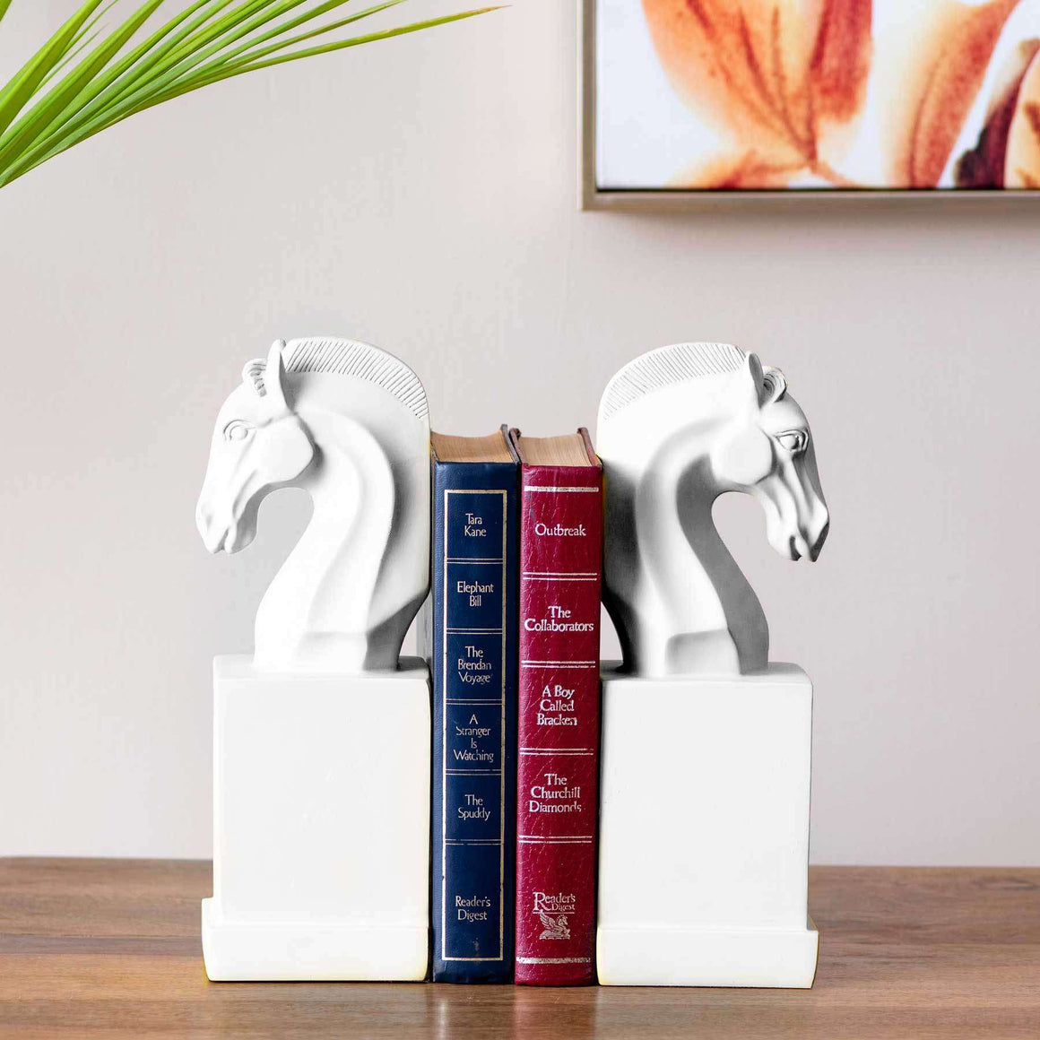 Horse on Pedestal Monochrome Bookend - White