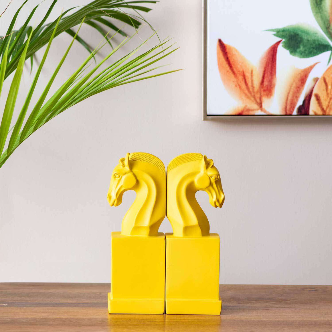 Horse on Pedestal Monochrome Bookend - Yellow