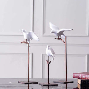 Set of 3 Perched Birds - White