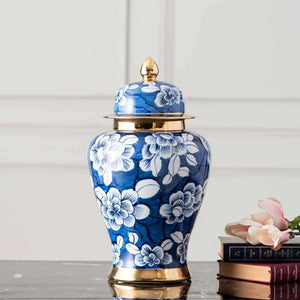 Blue & White Chinoiserie Temple Jar w/ Gold Details