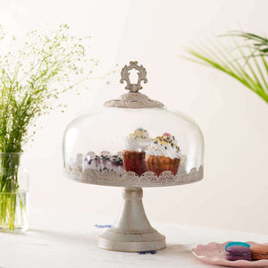 'Emperor' Pedestal Cake Stand with Glass Dome