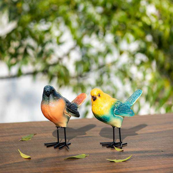 Abstract Ceramic Bird Figurine - Set of 2
