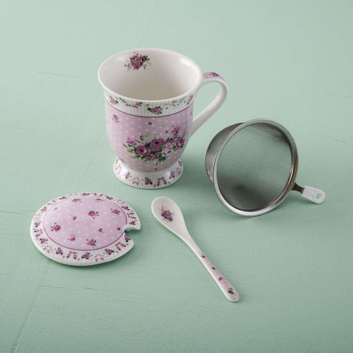 'Garland' Pink Ceramic Mug with Metal Sieve and Lid