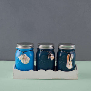 Set of 3 Glass Mason Jars in Caddy - Ocean Blues