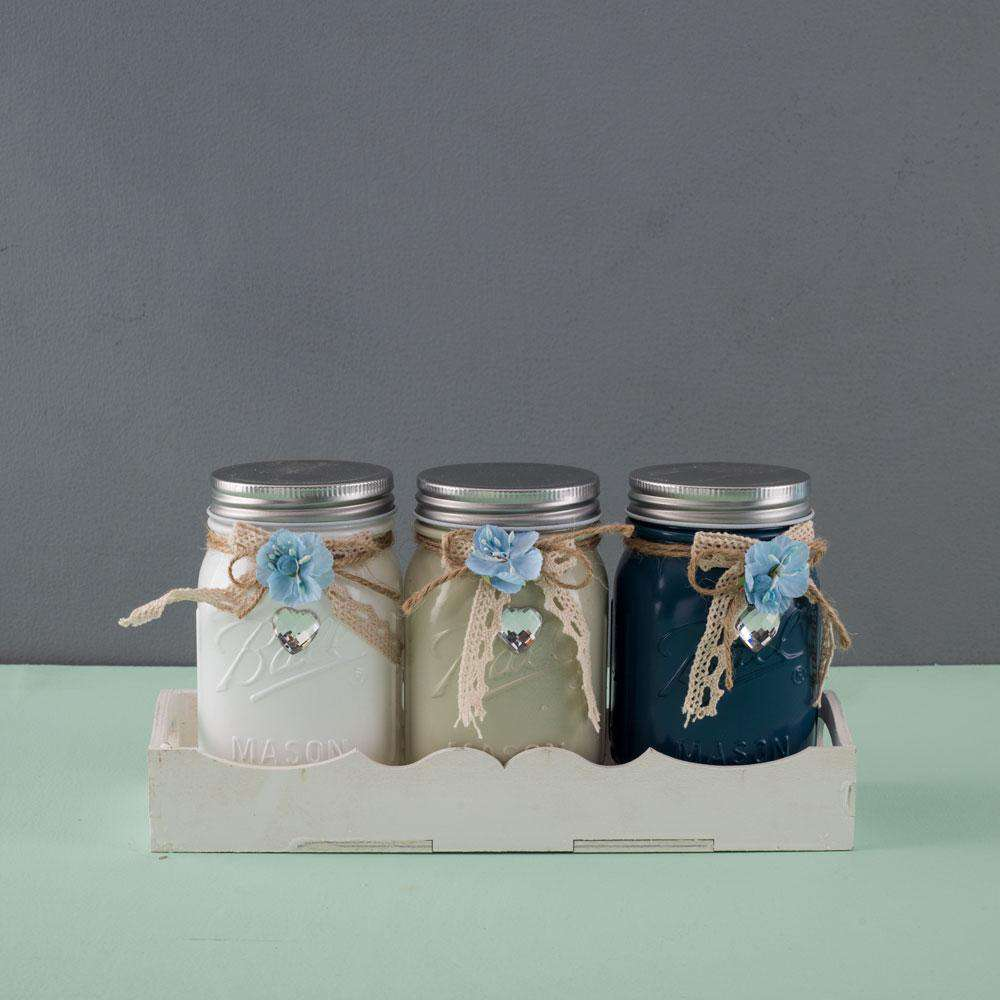 Set of 3 Glass Mason Jars in Caddy - Earthy