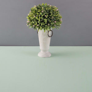Green Topiary in Cream Planter w/ Brass Handles