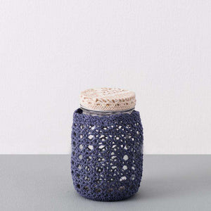 Glass Mason Jar with Blue Crochet Cover - Small