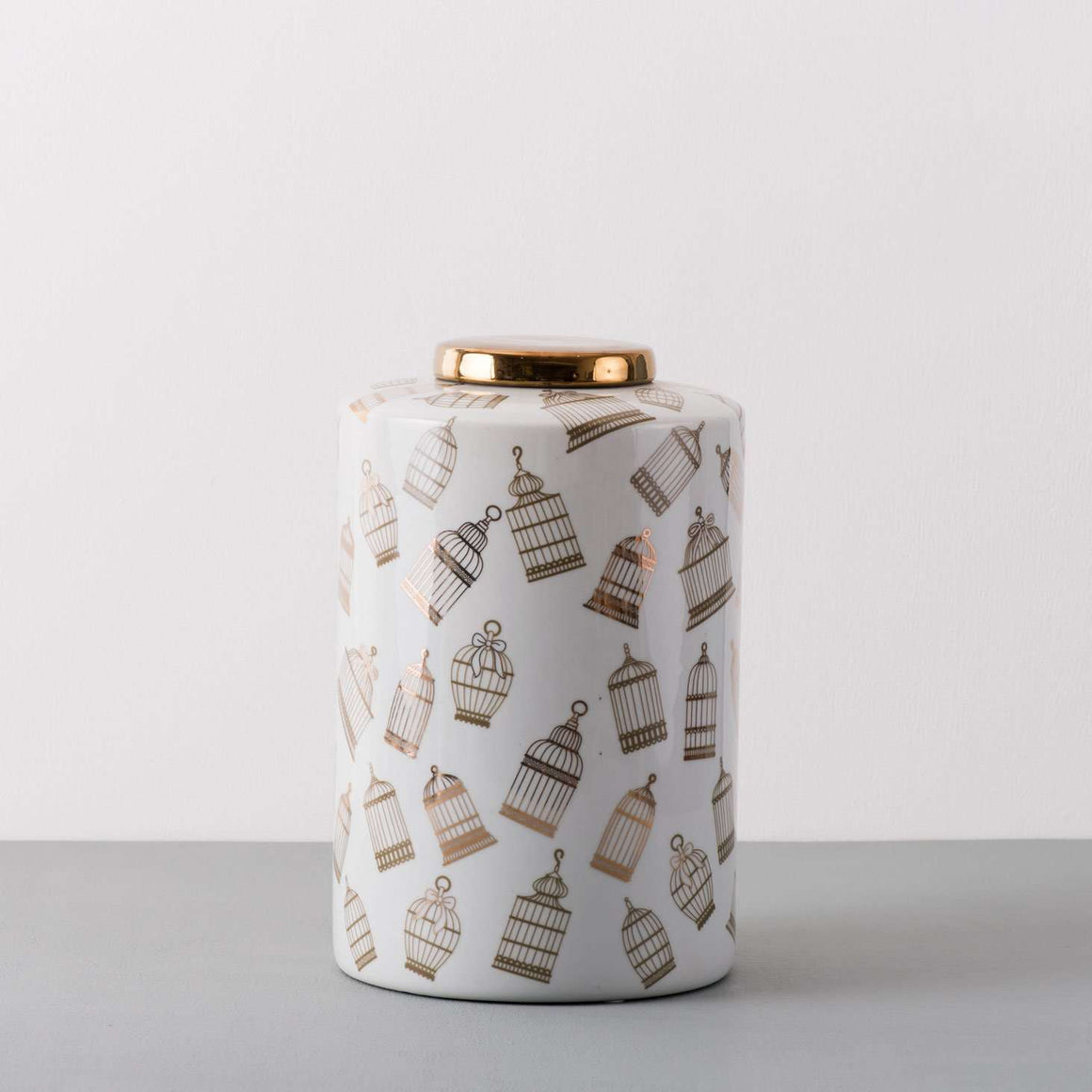 The Cage - White & Gold Decorative Accent Lidded Jar - Large
