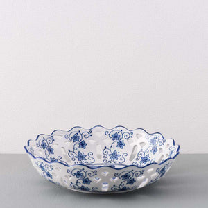 Traditional Blue & White Hand-Painted Bowl - 12""