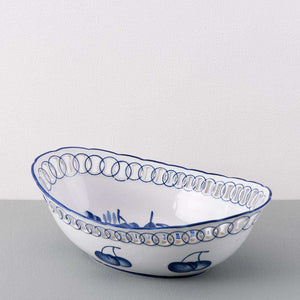 Traditional Blue & White Hand-Painted Oval Bowl - Large