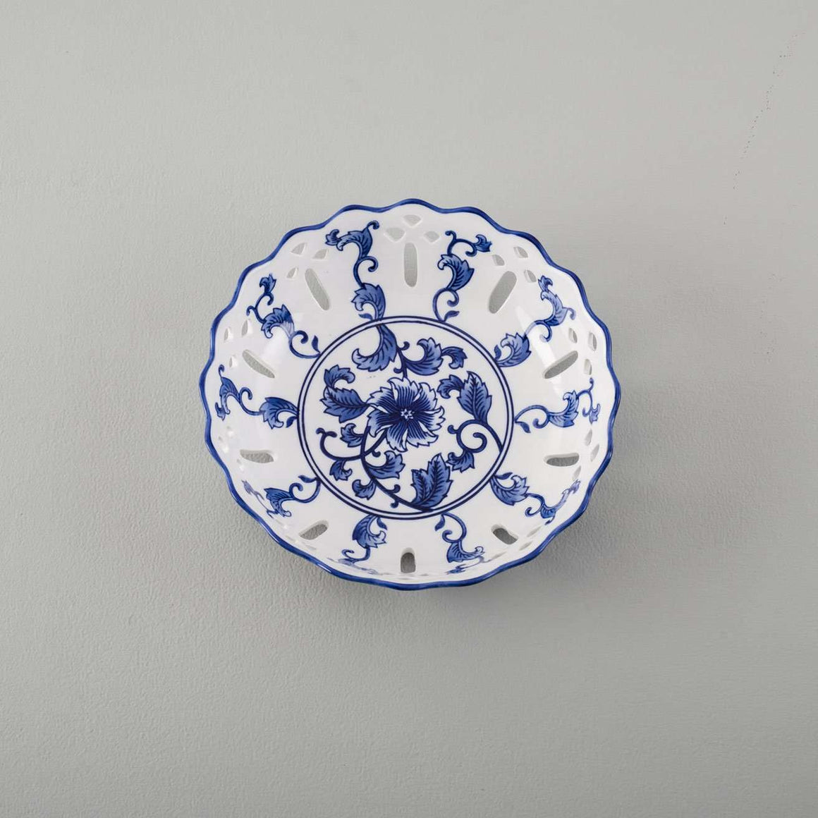 Traditional Blue & White Hand-Painted Bowl - 10.5""