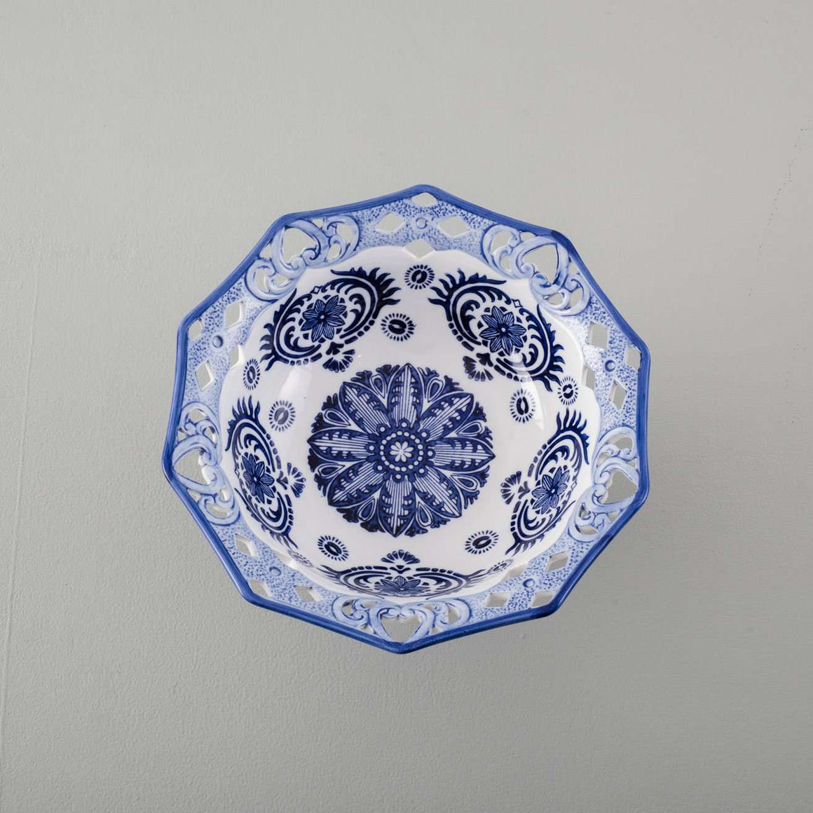 Traditional Blue & White Hand-Painted Footed Bowl - 12""