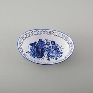 Traditional Blue & White Hand-Painted Oval Bowl - Small