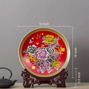 Oriental Display Plate with Stand 16""