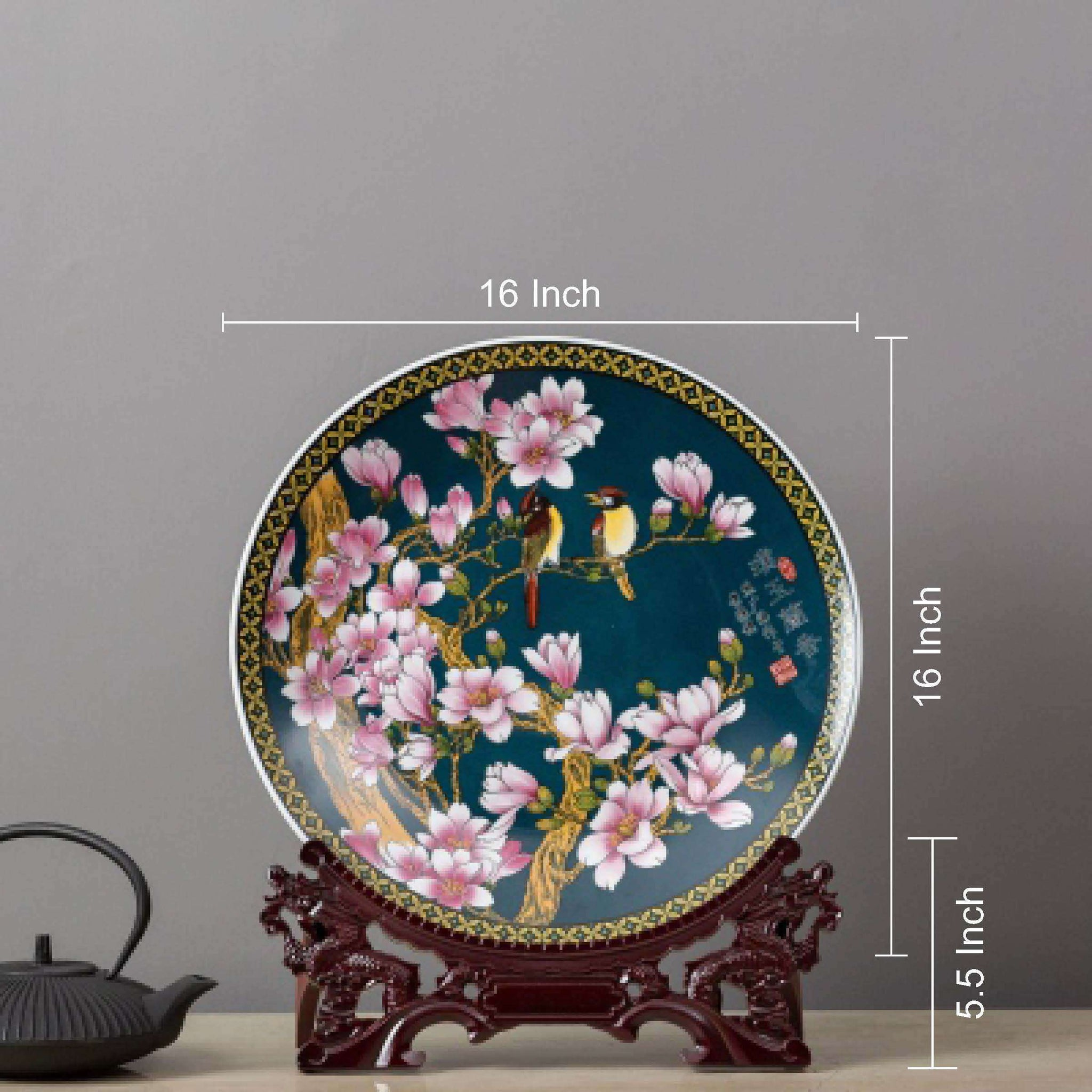 Oriental Display Plate with Stand 16\  & Decorative Plates - TheDecorKart