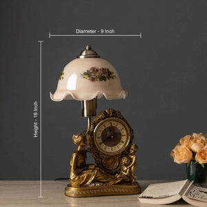 'Faith' Fenton Lamp w/ Clock & Scalloped Glass Shade