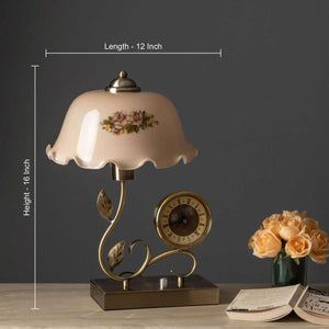 'Kyra' Fenton Lamp w/ Clock & Scalloped Glass Shade