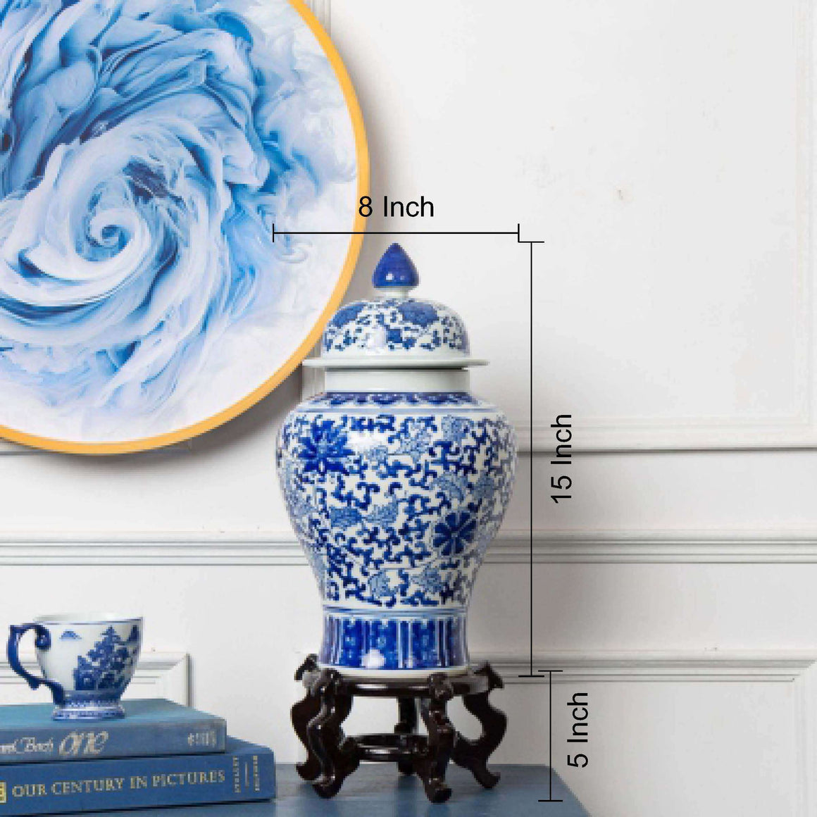 Blue and White Cluster Flower Temple Jar w/ Stand