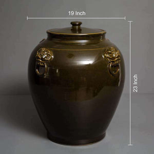 Deep Olive Green Lidded Pot - Large
