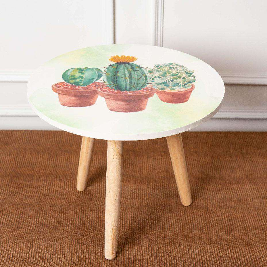 Succulents - Round Accent Table