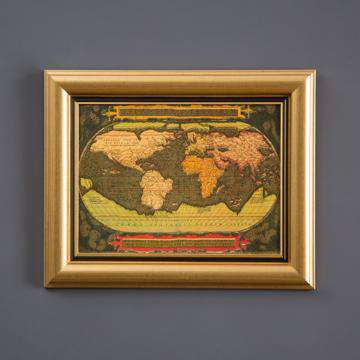 Old World Gold Map - Framed Art