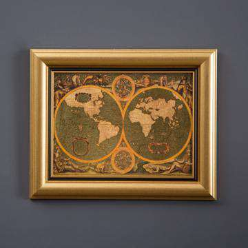 Old World Gold Map Framed Art Thedecorkart