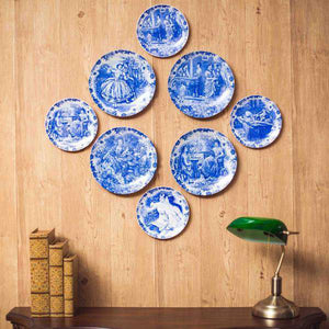 Victorian Blue & White Plate Collage - Set of 8
