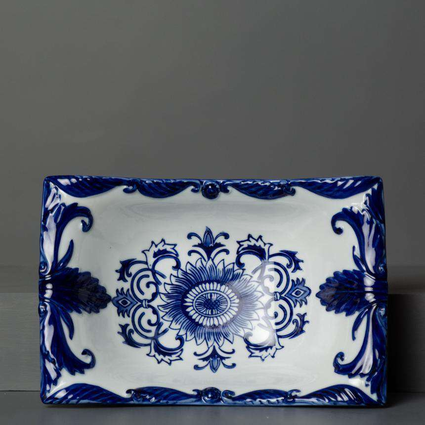 Traditional Blue & White Hand-Painted Rectangular Bowl - Small