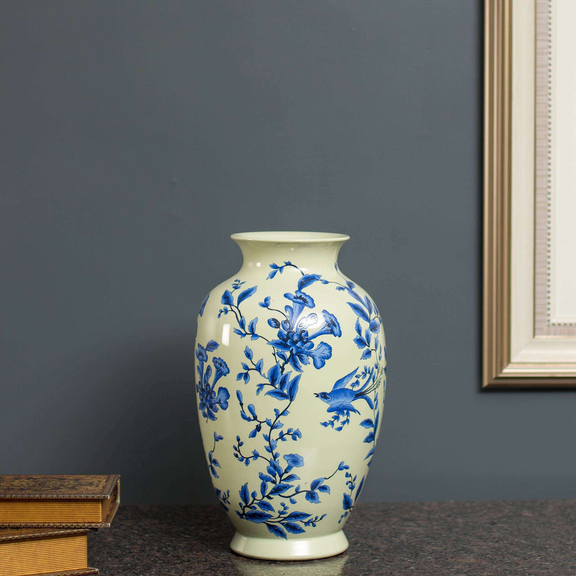Luther - Hand Painted Blue & White Vase