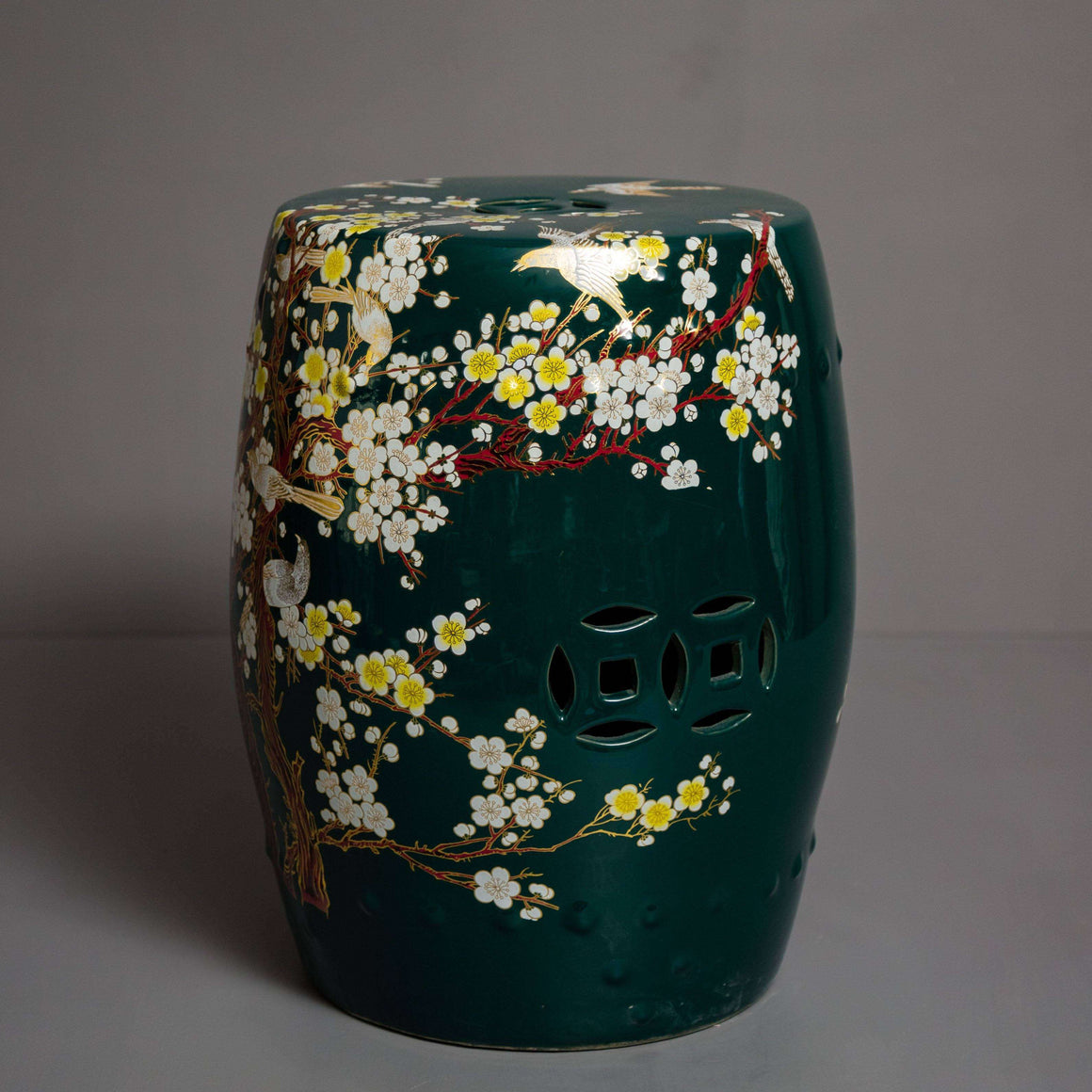 'Cherry Blossom' Hand-painted Living Room Garden Stool - Bottle Green