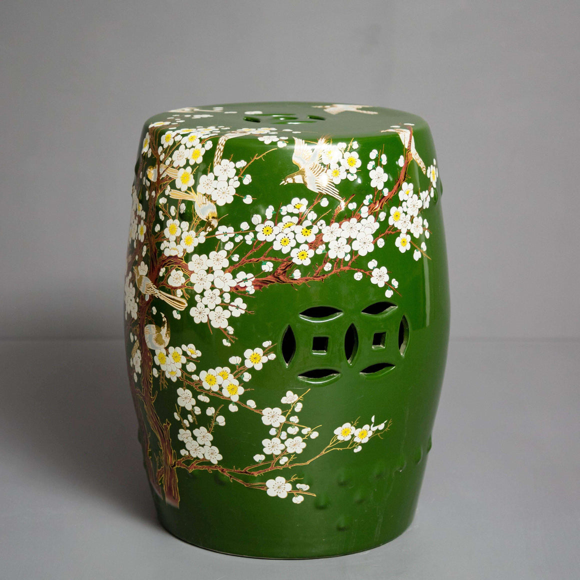 'Cherry Blossom' Hand-painted Living Room Garden Stool - Forest Green
