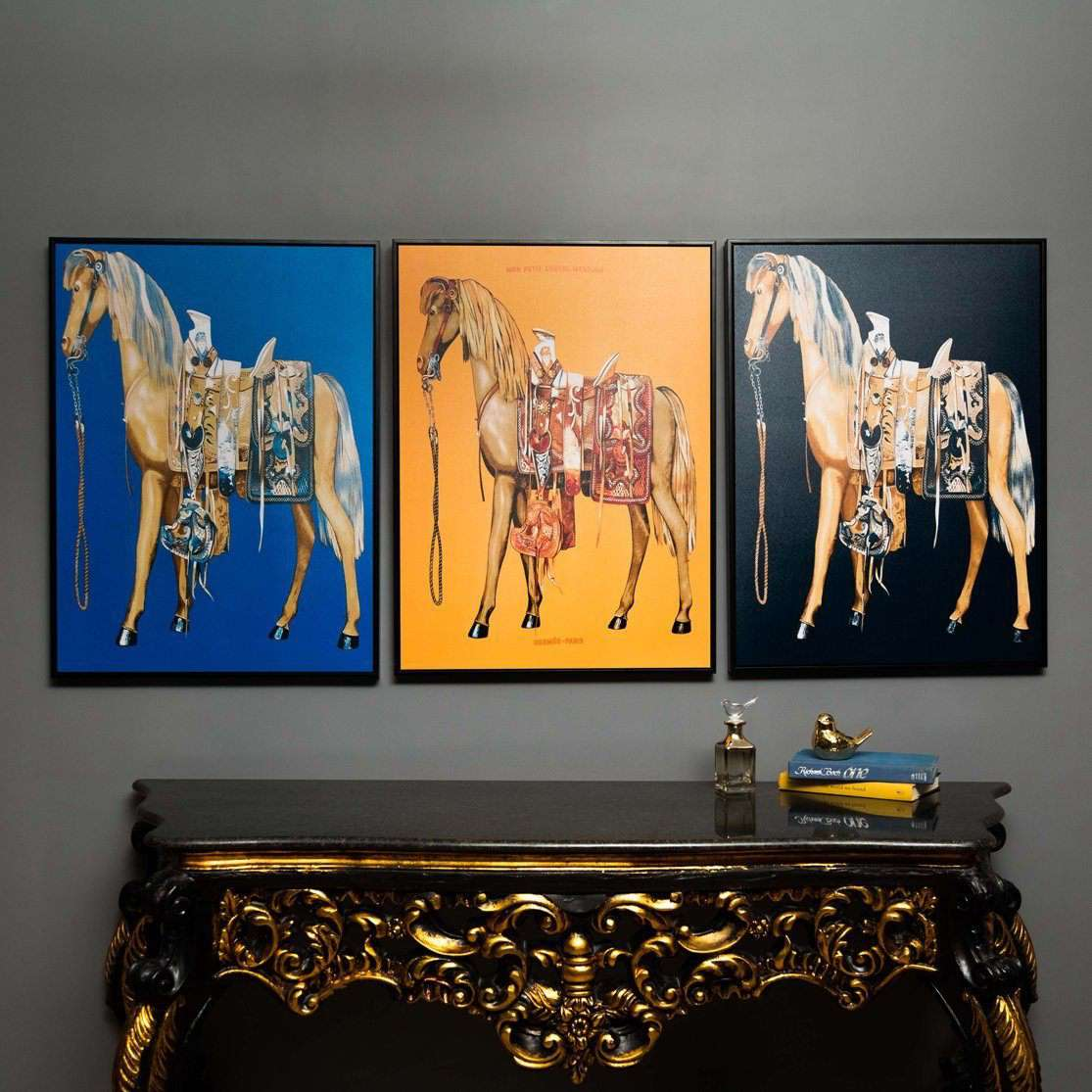 The Stallion - Framed Prints on Canvas - Set of 3