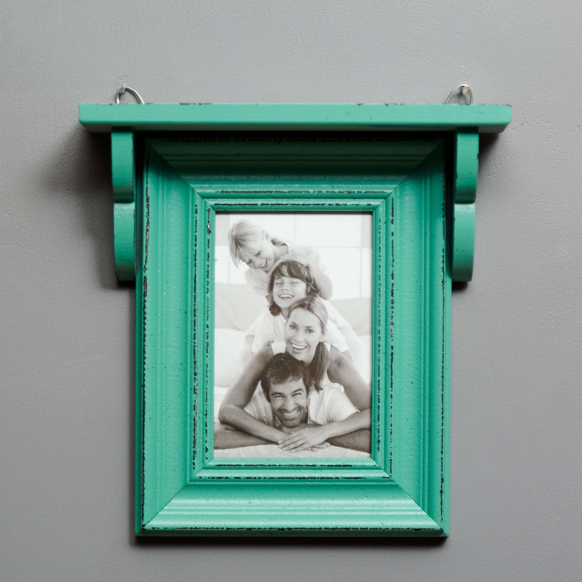 Distressed Teal Shelf with Single Photo Frame