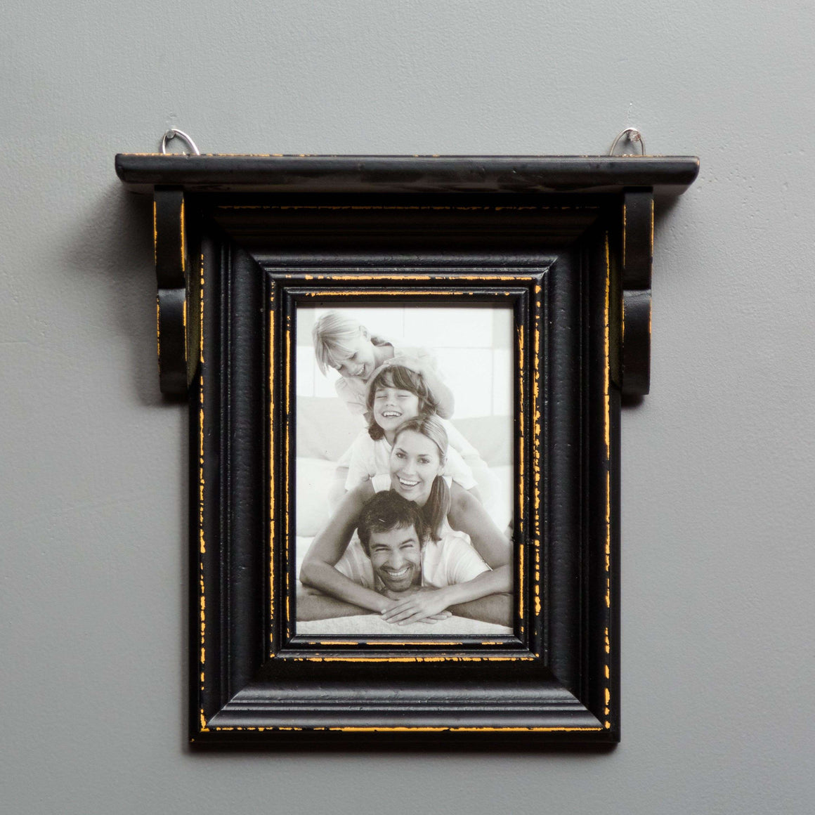Distressed Black Shelf with Single Photo Frame