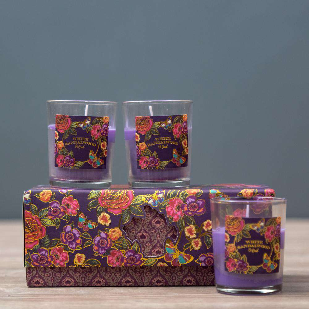 White Sandalwood & Oud - Set of 3 Aroma Candles in Gift Pack
