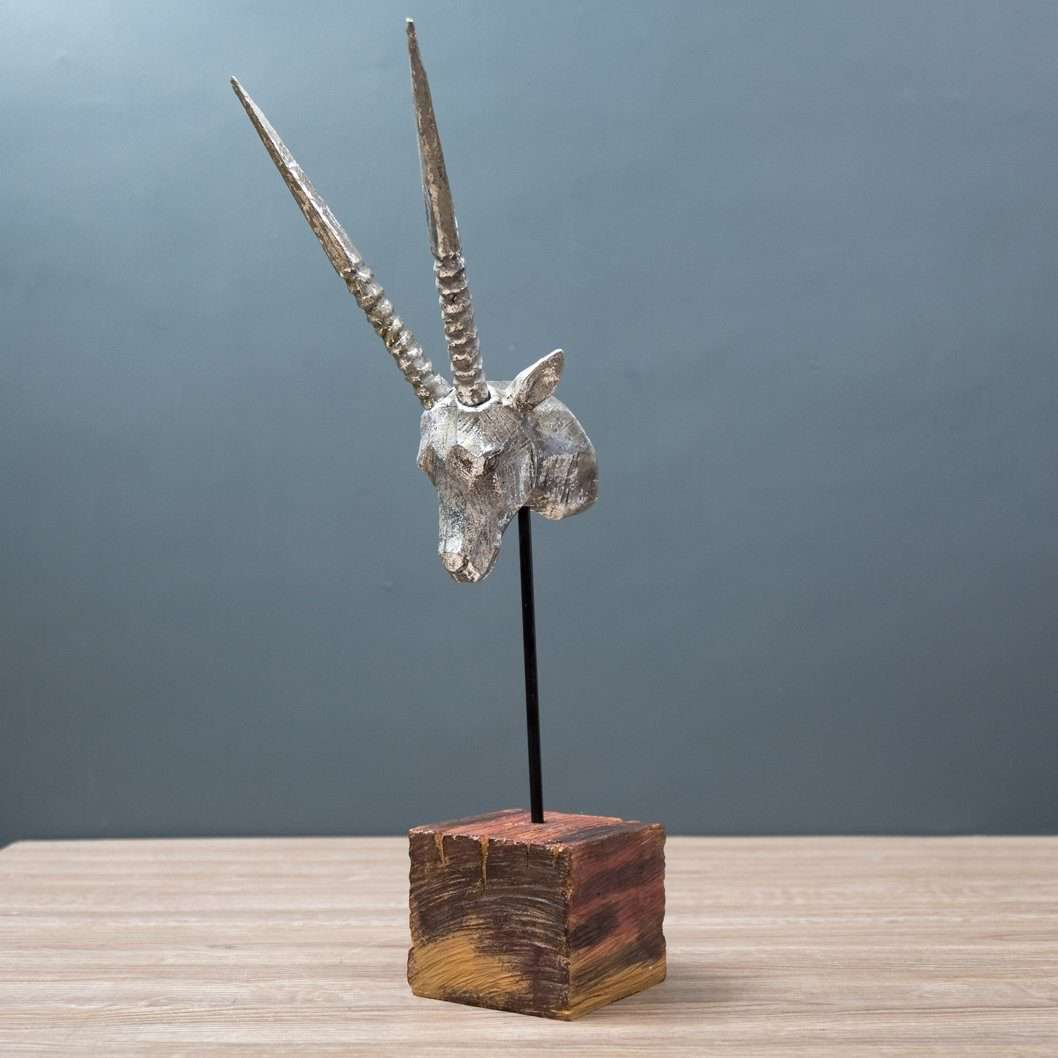 Brilliant Silver Antelope Figurine on Wooden Stand